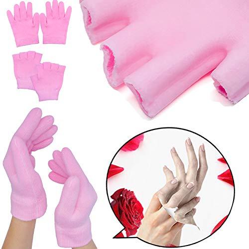 sumifun Feuchtigkeitsspendende SPA Gel Socken Handschuhe, Fingerlose Handschuhe für Frauen, Gel Hand Handschuhe mit ätherisches Öl thermoplastische