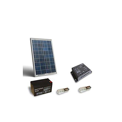 PuntoEnergia Italia - Kit Solar Votivo 10W Placa fotovoltaico Batería 12Ah 12V Controlador de carga - KV-10-B12