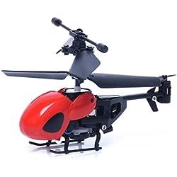 Malloom RC 5012 2Ch Mini Helicóptero RC De Radio Control Remoto De Aviones Micro 2 Canales (Rojo)