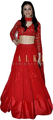 FebForrest Women\'s Red Georgette Attractative Indo-Western Semi-Stitched Lahenga Choli (Free Size) [SL 20 (FF_H)_Red]