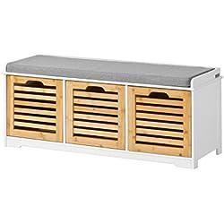SoBuy Banco de Almacenamiento con Acolchados Cojines y 3 Cubos, Entrada Zapato Gabinete Dresser Cómodo Banco FSR23-WN, ES