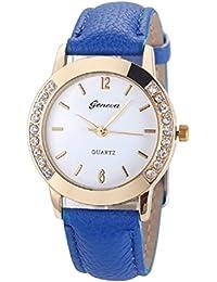 Relojes Pulsera Mujer,Xinan Cuero del Diamante Analógico Relojes de Cuarzo (Azul)