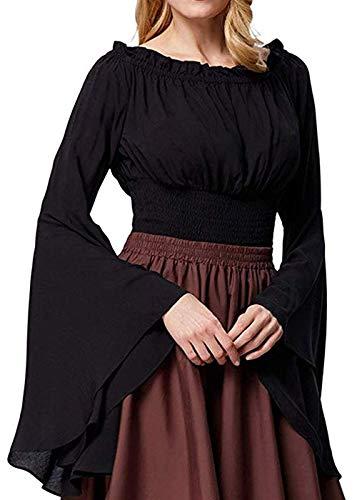 Mcaishen Damenhemden Europa Und Die Vereinigten Staaten New Party Kostüm Horn Langarm Renaissance Damen Mittelalter Bluse Schulterfreies Langarmhemd.(M/L,Black)