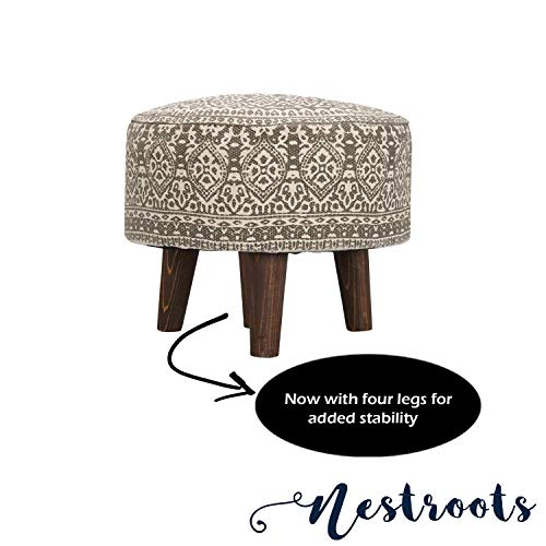 """Nestroots Stool for Living Room Sitting Printed Ottoman upholstered Foam Cushioned pouffe Puffy for Foot Rest Home Furniture with 4 Wooden Legs Cotton Canvas (14"""" inch Height Grey)"""