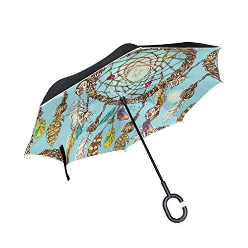 HYJDZKJY Paraguas invertido de Doble Capa Paraguas invertido Paraguas Hermoso Atrapasueños Étnico Tribal A Prueba de Viento A Prueba de UV Paraguas al Aire Libre de Viaje