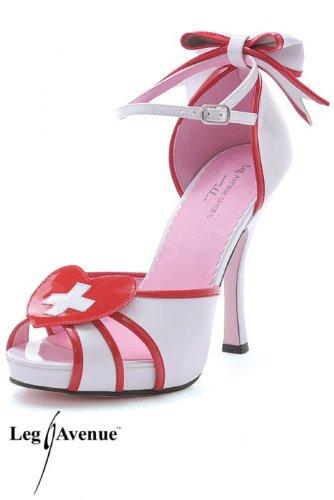 Leg Avenue 5007 - Jackie 4 Zoll Krankenschwester Schuhe, Größe 7, (Leg Krankenschwester Kostüme)
