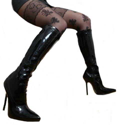 Erogance Lack High Heels Kniestiefel, Stivali donna Nero (nero)