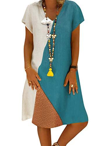 Yidarton Sommerkleid Leinen Kleider Damen V-Ausschnitt Strandkleider Einfarbig A-Linie Kleid Boho Knielang Kleid Ohne Zubehör (Z/Weiß, S) - Kleider Abschlussball Weiß V-ausschnitt