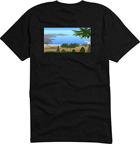 T-Shirt D688 T-Shirt Herren schwarz mit farbigem Brustaufdruck - Design Tribal Comic / schönes Motiv Landschaft am Meer mit Palmen Sand und anderen Pflanzen Schwarz