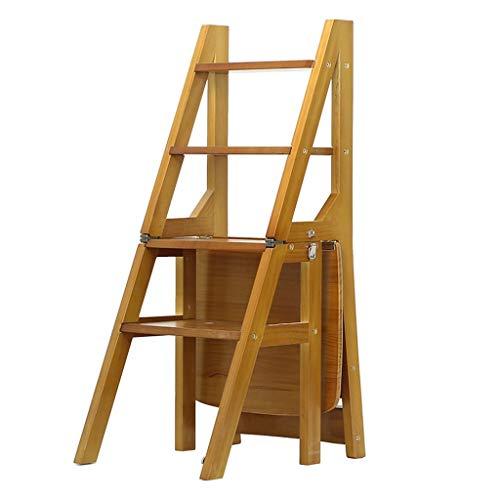 Klappstufen Treppenleiter 4-stufiger Treppenstuhl aus Massivholz Haushalt faltender Trittleiter Indoor-Holzleiter mit doppeltem Zweck, Max. Last von 150 kg, Hellbraun