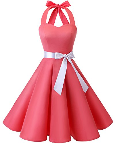 bridesmay 1950er Retro Rockabilly Neckholder Vintage Kleider 50er 60er Cocktail Partykleid Blush 3XL