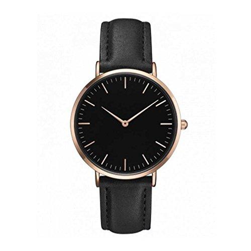Fittingran lover's watches donna uomo casual analogico al quarzo semplice orologio cinturino in pelle da polso (nero)