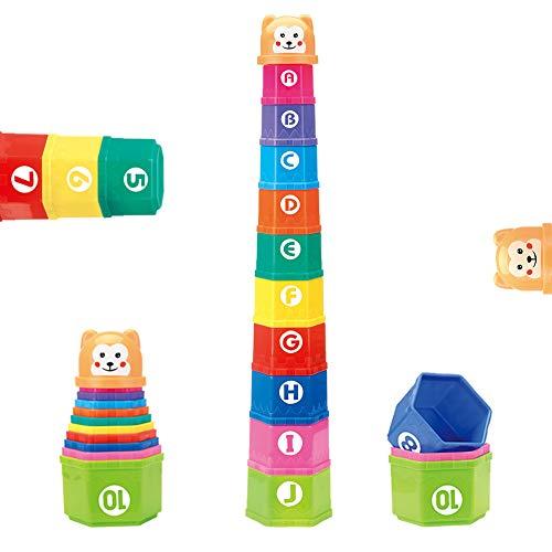 Nuheby Stapelbecher Kinder Stapelturm Stapelwürfel Baby Sandspielzeug Badespielzeug zum Sortieren und Stapelspiel Pädagogisches Spielzeug ab 6 Monaten+ Junge Mädchen(11 Stück)