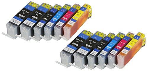 Galleria fotografica 12cartucce per stampante Canon PGI550X L CLI551X L con Chip e Indicatore di livello per Canon Pixma MG6400MG6450,, MG6600MG6650, MX720, MX725MX920MX925, IX6800, iX6850compatibile con PGI550BK, CLI551C, CLI551M, CLI551Y, CLI551BK
