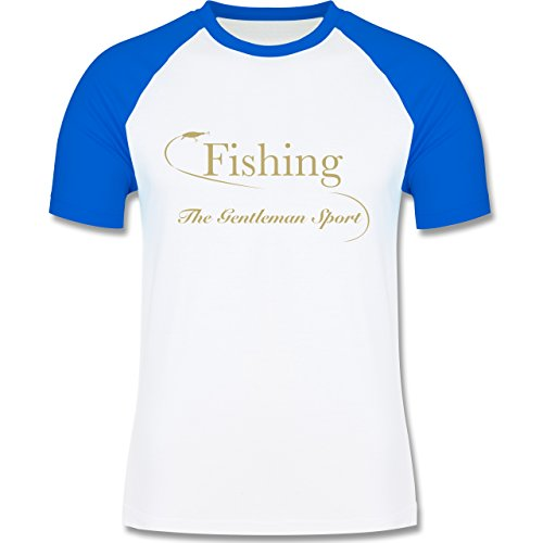 Angeln - Fishing - The Gentleman Sport - zweifarbiges Baseballshirt für Männer Weiß/Royalblau