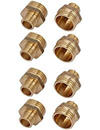 Tradico® 1/2BSPx1/4BSP Male Thread Brass Hex Nipples Pipe Fittings Connectors 8pcs