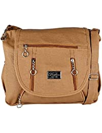 GulshanCollection Women Evening/Party, Casual PU Sling Bag With Stylish Three Zipper Flap (Biege)