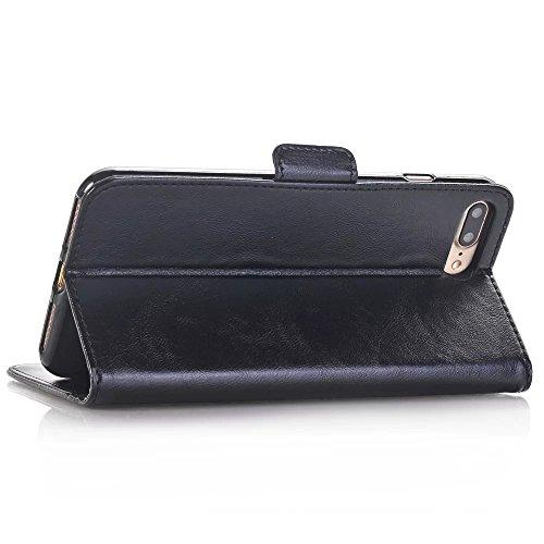 Öl Textur Muster Magnetverschluss Flip Stand Case Wallet Fall Deckung mit Karte Cash Slots für Apple IPhone 7 Plus ( Color : Rose , Size : IPhone 7 Plus ) Black