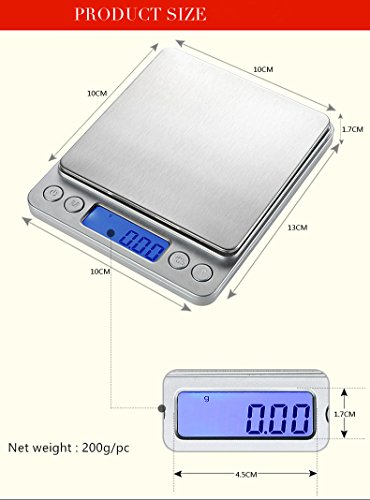 Digitale Küchenwaage, Digitalwaage Waage, Mini Waage, Küchenwaage, Briefwaage, Hohe Präzision auf bis zu 0,1g (1-3kg Maximalgewicht), Tara-Funktion, ideal zum Messen von Zutaten,Gold,Briefmarken (3kg/0.1g)