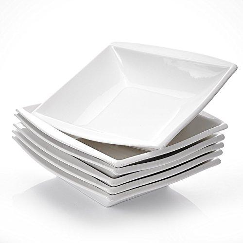 Malacasa, Serie Blance, 6 teilig Set Cremeweiß Porzellan Suppenteller 8,5 Zoll / 21,5x21x5 cm für 6 Personen
