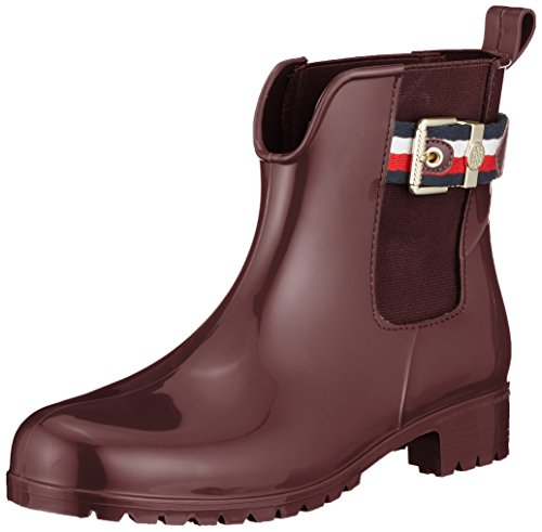 Tommy Hilfiger Damen Corporate Belt Rain Boot Gummistiefel, Rot (Decadent Chocolate 296), 37 EU