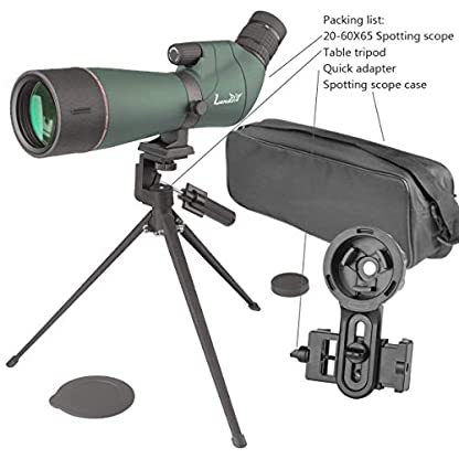 Landove Waterproof Spotting Scope- Prism Scope for Birdwatching Target Shooting Archery Outdoor Activities -with Tripod & Digiscoping Adapter-Get the Beauty into Screen