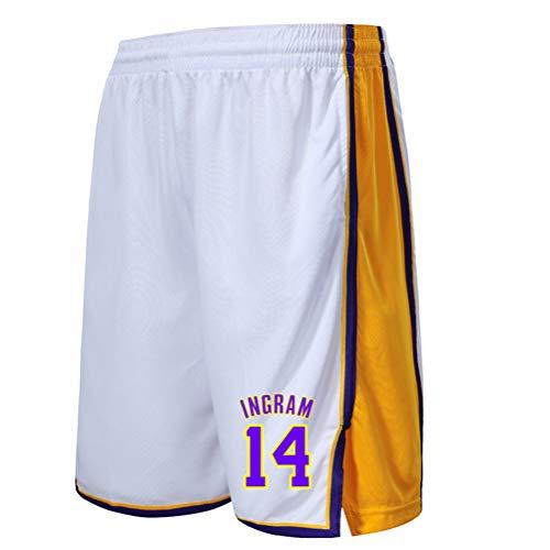 ZGJY Los Angeles Lakers Shorts für Kinder Youuth, Basketball Shorts für Männer Frauen, Fitness Sport Training Lose Laufen Schnell trocknende Strand Shorts-White2-L -