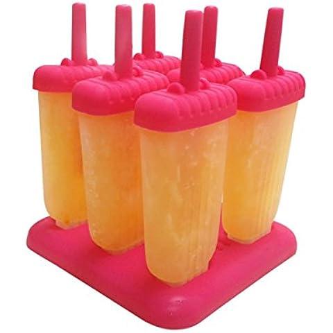 DINHAND Stampi per ghiacciolo ghiaccio riutilizzabile di alta qualità 6 pezzi con vassoio e Dripguard colore rosa