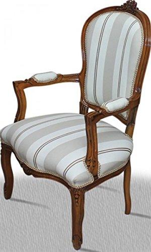 LouisXV Barock Stuhl Vintage Antik Stil rot Rokoko Holz lasiert dunkel Blatt silber Blumenmuster...