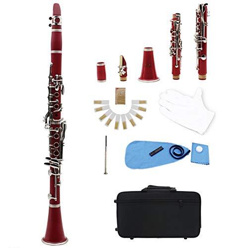 Klarinette 17 Schlüssel bB Holzblasinstrument Konzert Anfänger Student ausgestattet mit Tragetasche, Handschuhe,Red