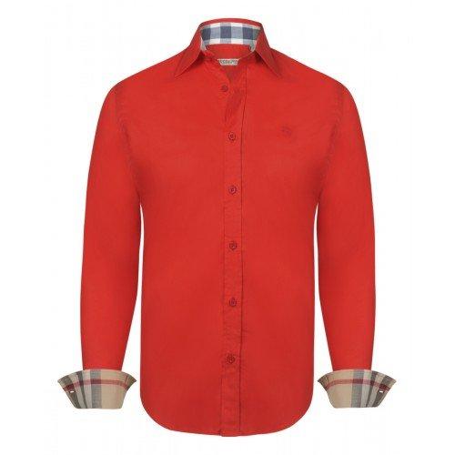 Burberry camicia uomo manica lunga colore rosso - red (xxl, rosso)