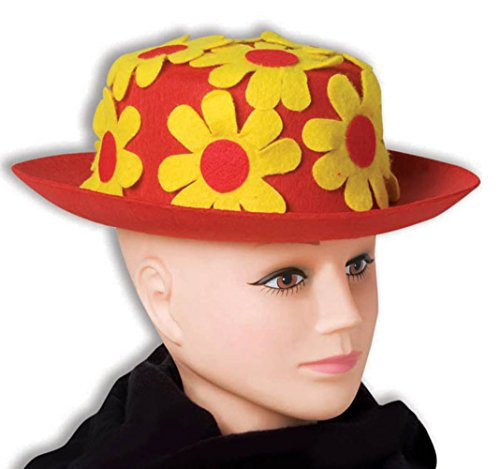Red & Yellow Daisy clown Hat Derby costume di