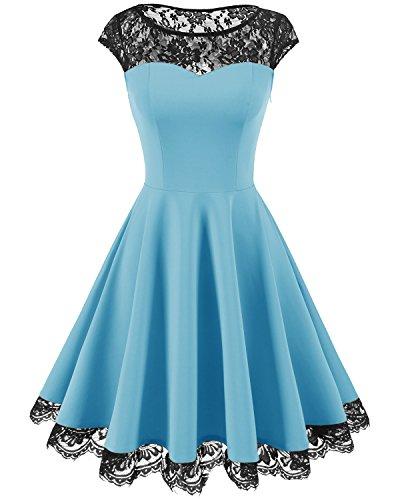 HomRain Damen 1950er Elegant Spitzenkleid Rundhals Knielang festlich Cocktail Abendkleid Blue S