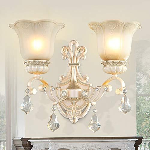 NMDCDH European Double-Headed Wall Lamp, Bedroom Bedside Lamp, Resin Lamp Body, Crystal Ornaments, Living Room TV Wall Wall Lamp -