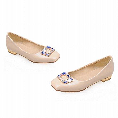 MissSaSa Damen Low-cut verkant Spitze Slipper mit Strass und künstlich Edelstein niedrig Absatz Lackleder Kleidschuhe Beige