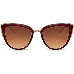 Cheapass oversize, rojas montura metálica lentes marrones protección UV400