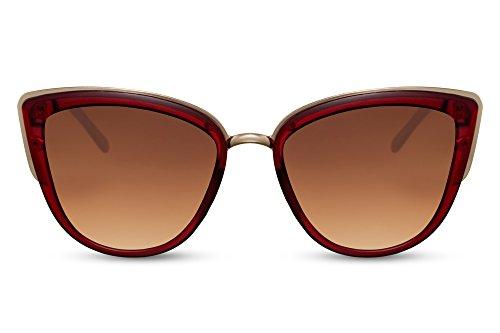 Cheapass Sonnenbrille Cat-Eye Rot Braun Getönt-e Linsen UV-400 Über-Große Designer-Brille Frauen Damen