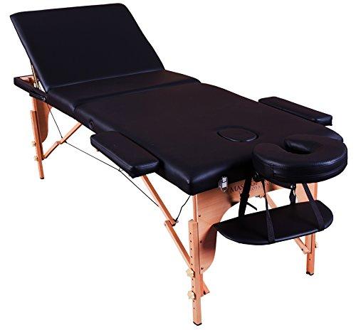 tragbare Profi-Massageliege Arlington - leicht 14 Kg - 3 Zonen - Schwarz