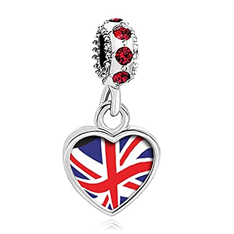 Uniqueen UK Flag Heart Charms Red Crystal Dangle Bead fit European Snake Bracelets Necklace