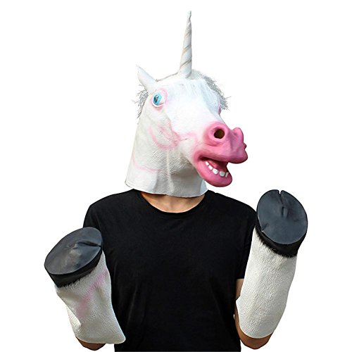 SQCOOL Unicorn Maske (Head Cover + feet) Animal Head Cover Halloween Dance Film Funny Make-up Dance (Film Halloween Niedliche Paare Für)