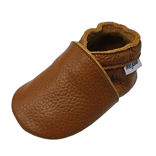 Mejale Premium Weiche Leder Lauflernschuhe Krabbelschuhe Babyschuhe Mokassin(Braun,12-18 Monate)