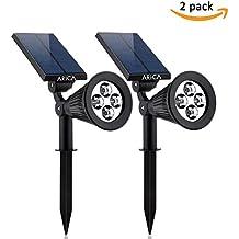 Lampioni Solari da Esterno - Luce ad Energia Solare da Giardino, Prato - Lampade da Terra - Kit Faretti Illuminazione Wireless Crepuscolare, Impermeabile con Pannello Fotovoltaico a LED by Arica