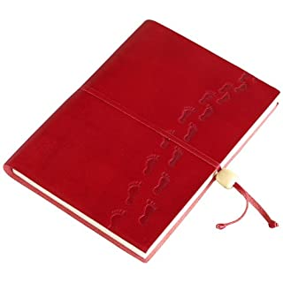 Amarcord Footprints Embossed Leather Notebook with Wooden Bead Closure - Rosso