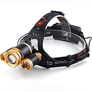 ZYJFP LED Stirnlampe Wiederaufladbare.wasserdicht 90 Grad Winkel Verstellbare.fokussierbar300m.Joggen.Gehen