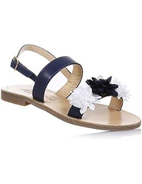 MODA POSITANO - Sandalo blu in pelle, ideato, creato e prodotto in Italia, con chiusura con fibbia, Bambina, Ragazza