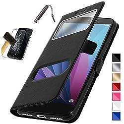 """KONTARBOOR Etui Housse Coque Noir Compatible avec Samsung Galaxy A6 2018 (5,6"""") + Film Verre trempé + Stylet**Plusieurs Couleurs Disponibles**"""