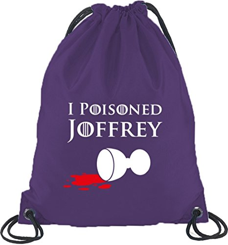 Shirtstreet24, I Poisoned Joffrey, Turnbeutel Rucksack Sport Beutel Lila