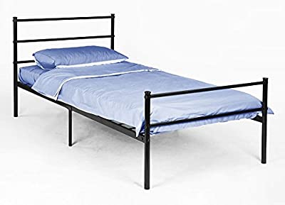 Premium Black Single Bed Frame 6ft x 3ft (198cm x 88cm) made from Sturdy Metal for Adults, Teenagers, Children, Dorms, Spare Rooms. Easy to Build with Stylish Minimalistic & Modern Design - inexpensive UK light shop.