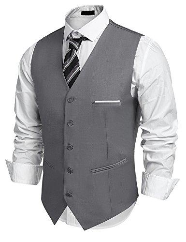 COOFANDY Herren Weste | Elegante 5 Knopf Stoffweste Einfarbig mit Schlaufe und V-Ausschnitt Grau M