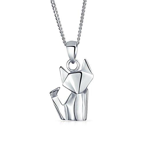 Bling Jewelry 925 plata Colgante Collar Gato Origami Animal 16 en